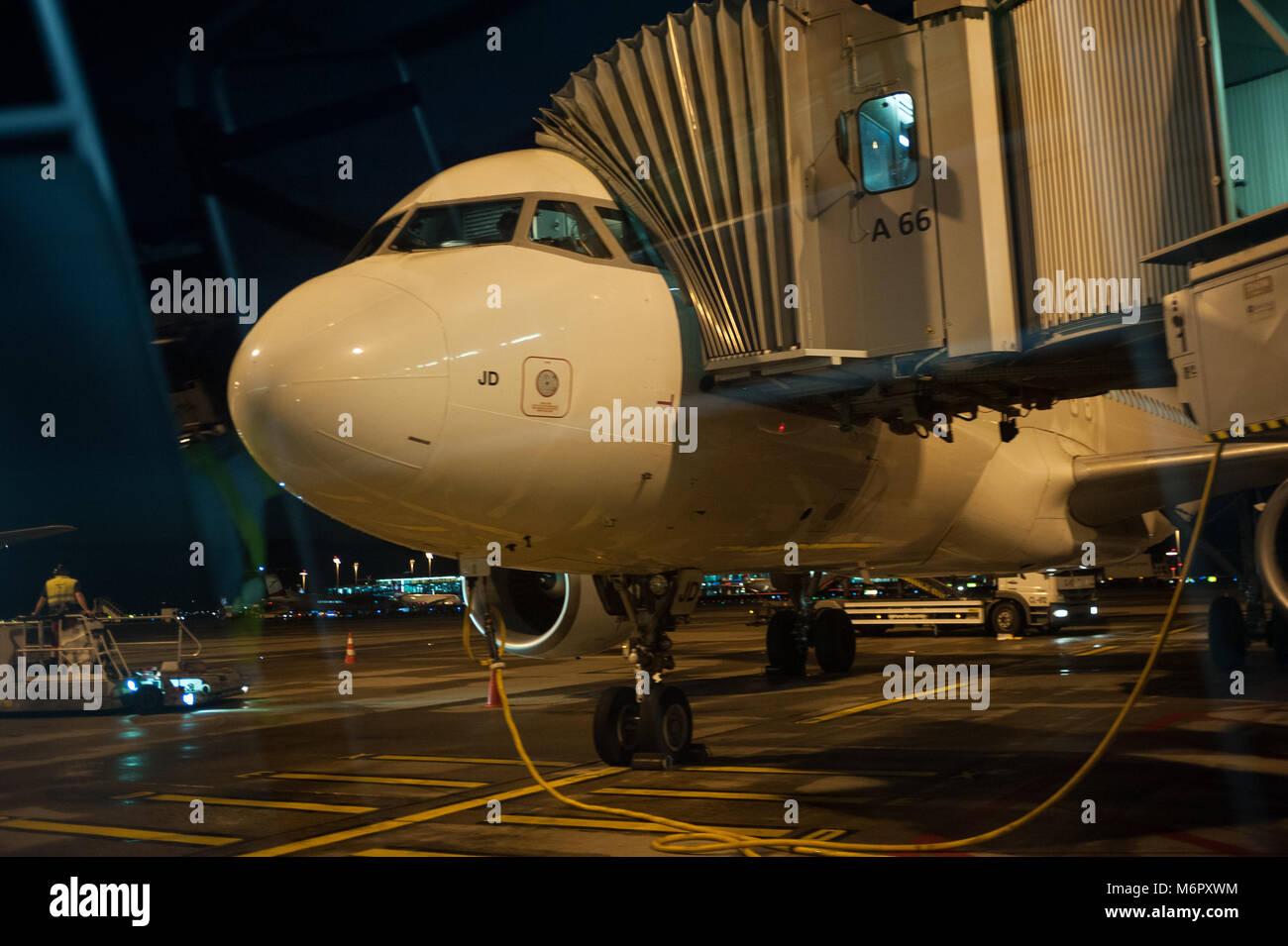 15.06.2017, Zurich, Switzerland, Europe - A Swiss passenger plane is parked at a gate at Zurich's Airport Kloten. - Stock Image