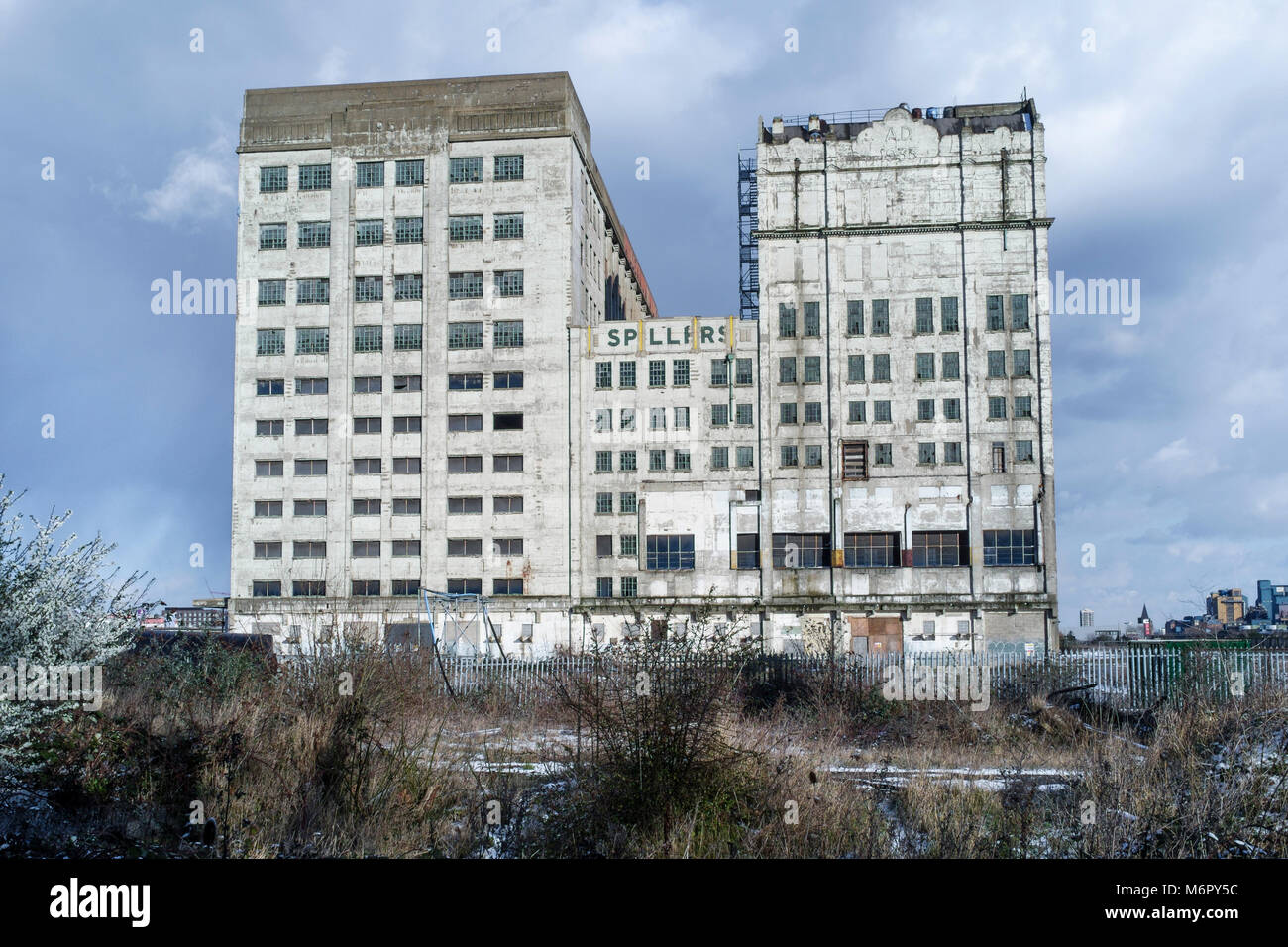 The derelict building of Millennium Mills, Silvertown, London Docklands, UK - Stock Image