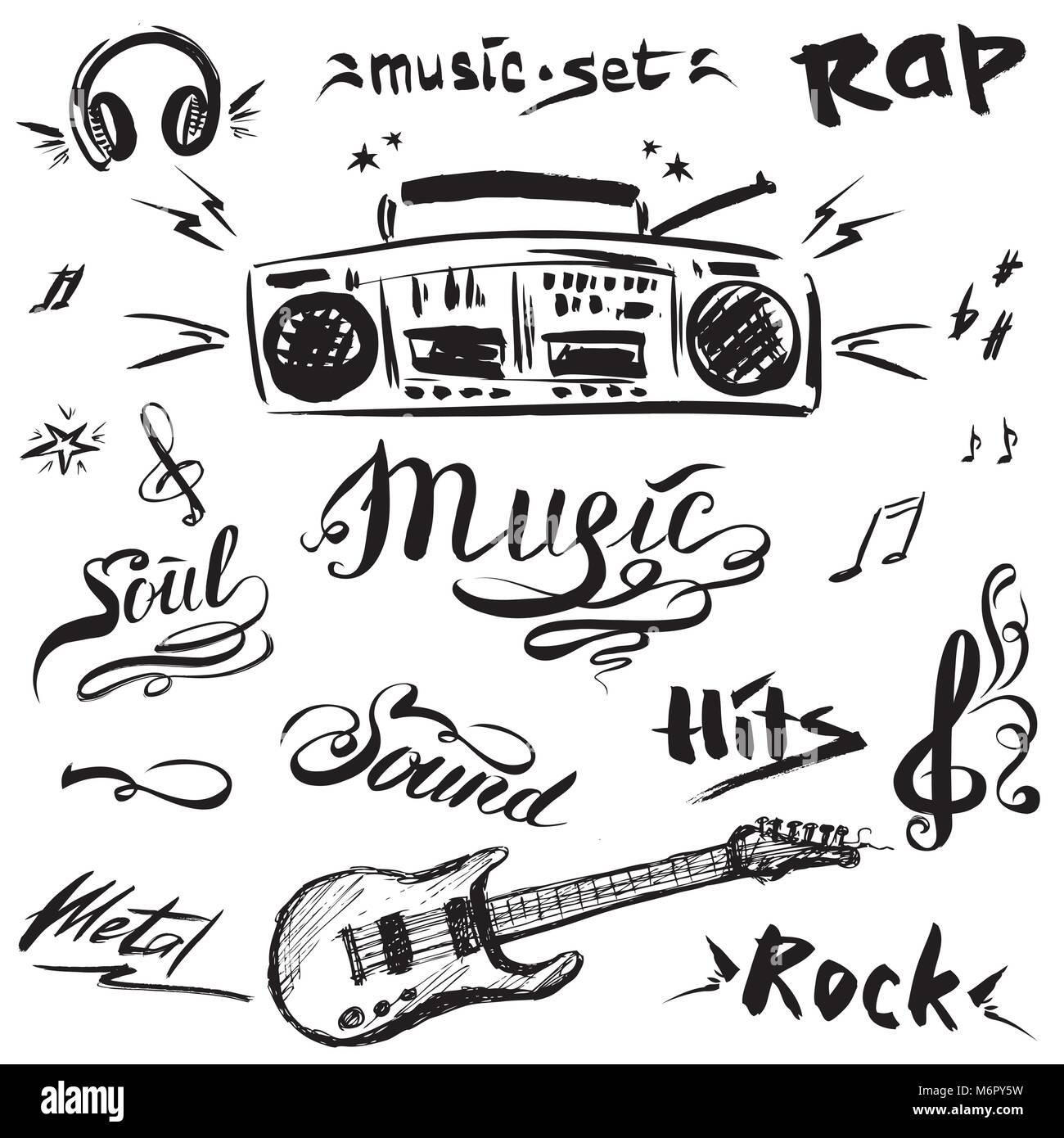 00a10ebefa Hand drawn sketch with notes, music player,guitar and music styles  lettering signs, vector illustration