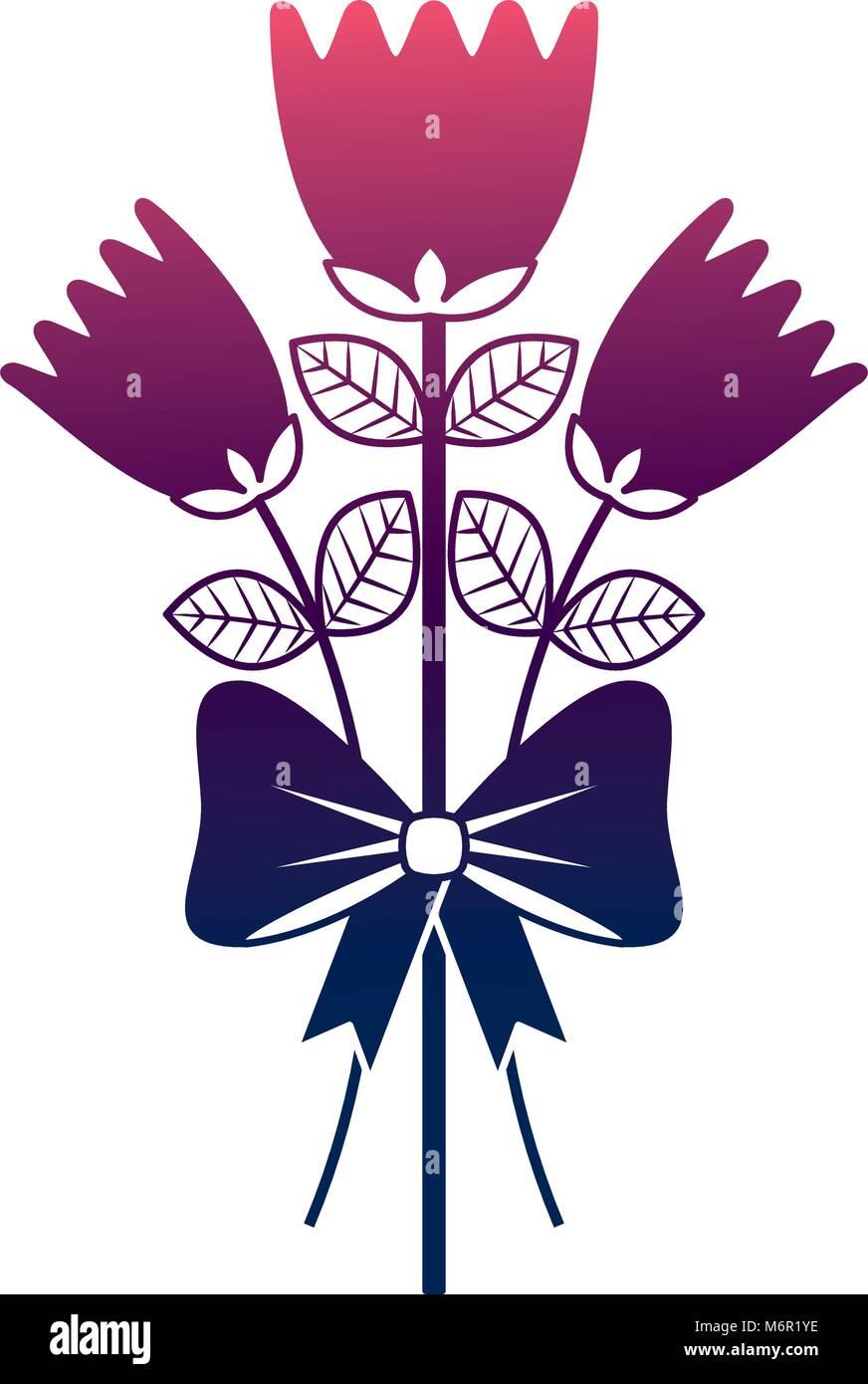 bouquet delicate flowers wrap ribbon bow decoration degrade color ...