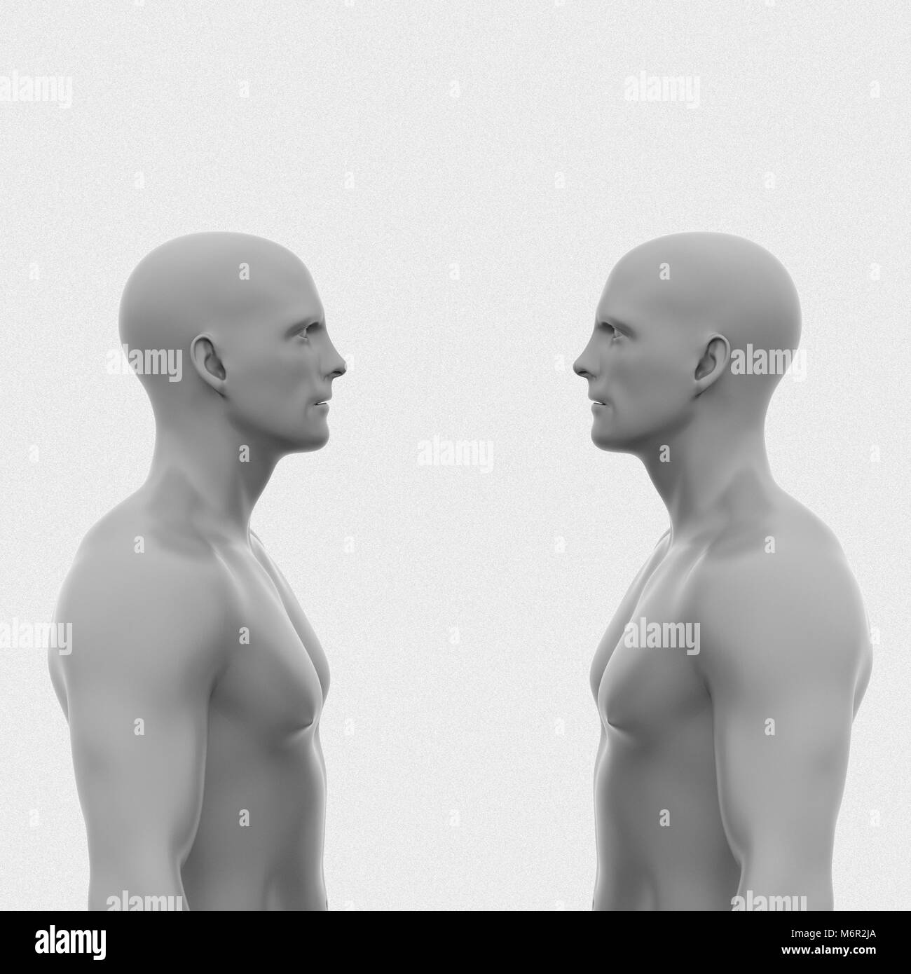 Two men face each other without clothing to the waist. abstract minimalist art. communication concept. 3d rendering - Stock Image