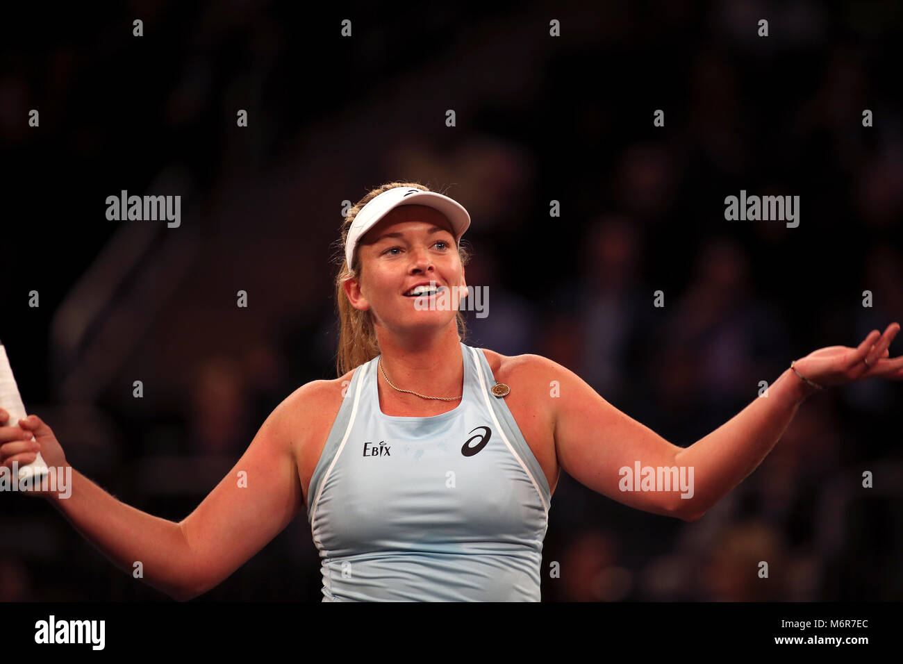 New York, USA. 5th March, 2018. CoCo Vandeweghe of the United States plays to the crowd during the Tie Break Tens - Stock Image