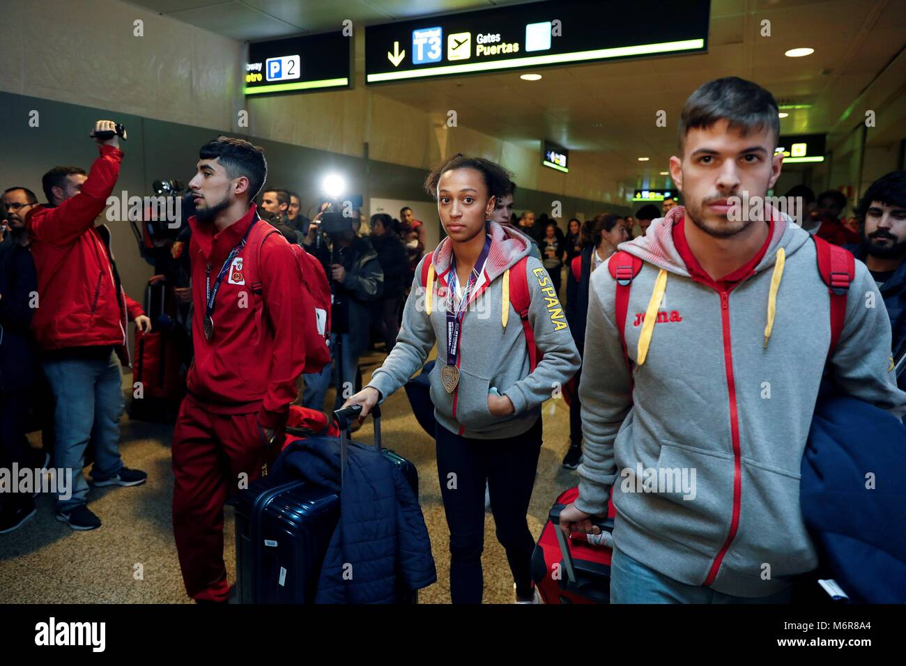 Madrid, Spain. 06th Mar, 2018. Spanish athlete Ana Peleteiro (C), triple jump bronze in Birmingham; Saul Ordonez - Stock Image