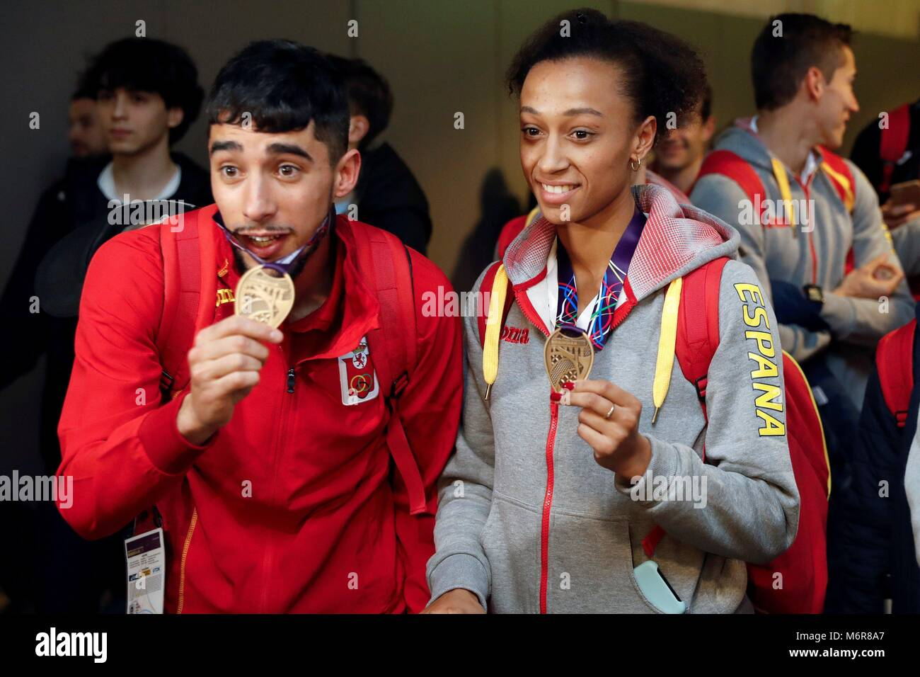Madrid, Spain. 06th Mar, 2018. Spanish athlete Ana Peleteiro (R), triple jump bronze in Birmingham; Saul Ordonez - Stock Image