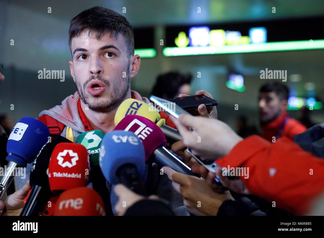 Madrid, Spain. 06th Mar, 2018. Spanish athlete Oscar Husillos, disqualified after winning 400 metres final in Birmingham, - Stock Image