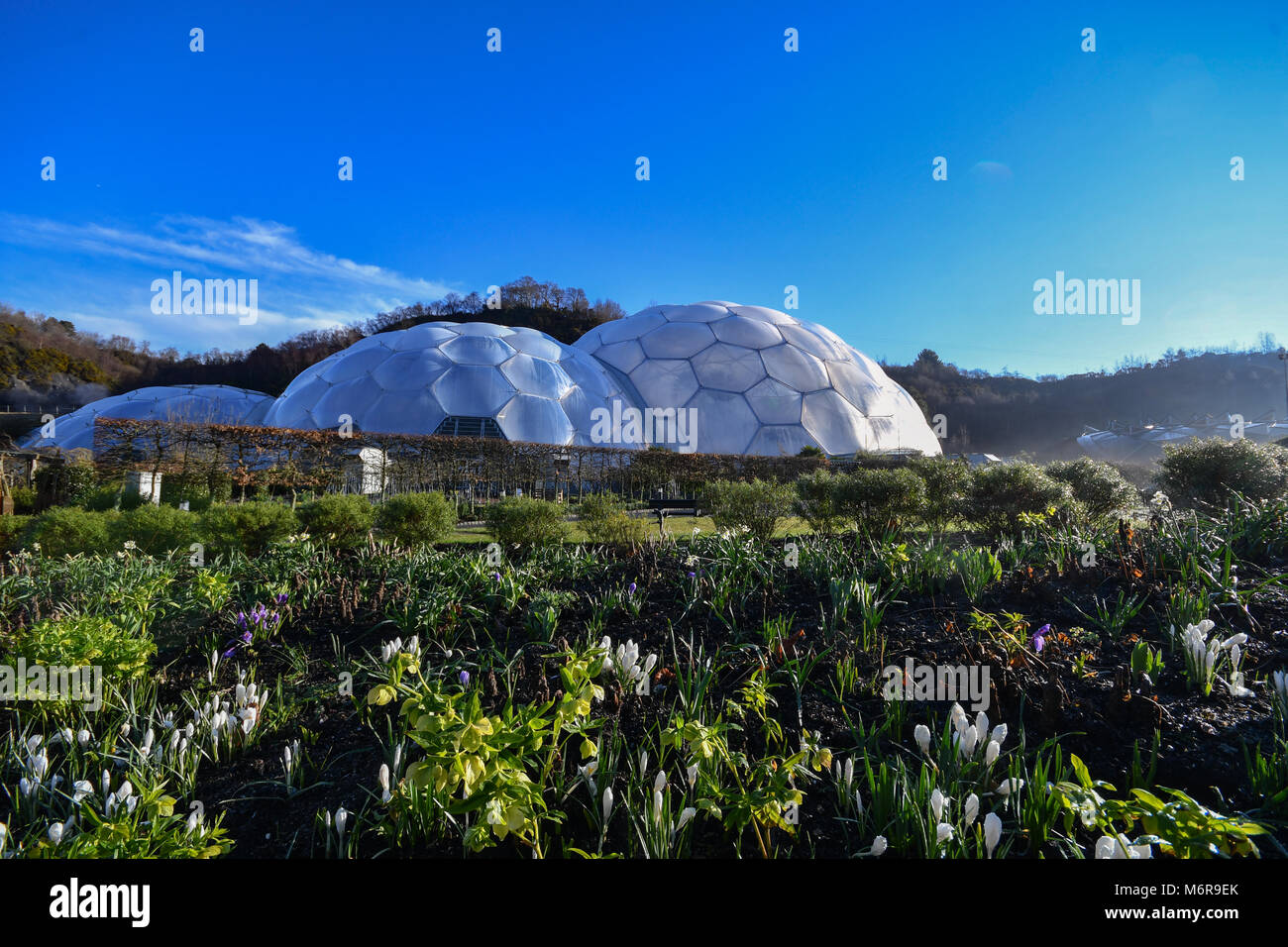Eden Project, Cornwall, UK. 6th March 2018. UK Weather. After an overnight frost it was clear blue skies over the Stock Photo
