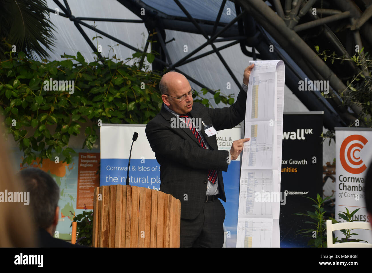Eden Project, Cornwall UK. 6th March 2018. Ian Jones, the CEO of Goonhilly Earth Station, was one of the speakers Stock Photo