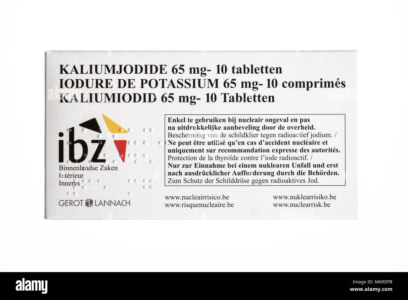 Free Potassium iodide tablets distributed to protect Belgian residents from radioactive fall-out in the event of - Stock Image
