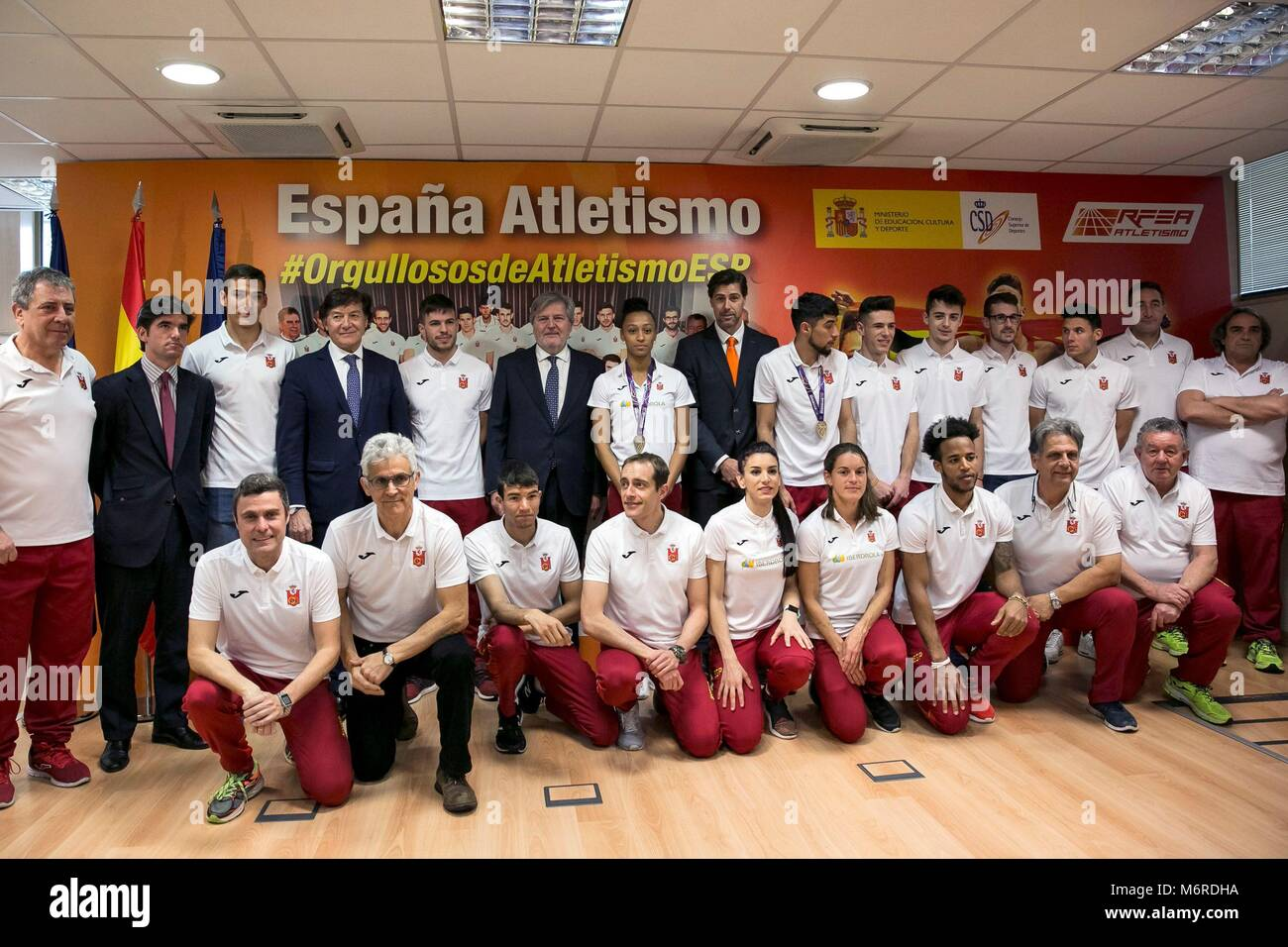 Madrid, Spain. 06th Mar, 2018. Spanish athletes who competed in the IAAF World Indoor Championships Birmingham 2018 - Stock Image