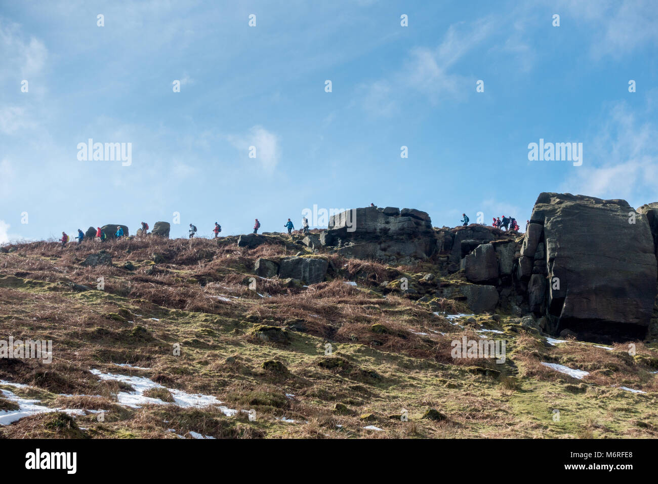 Ilkley Moor, West Yorkshire, UK. 6th March 2018. UK weather: Big group of people out in force, enjoying an organised - Stock Image