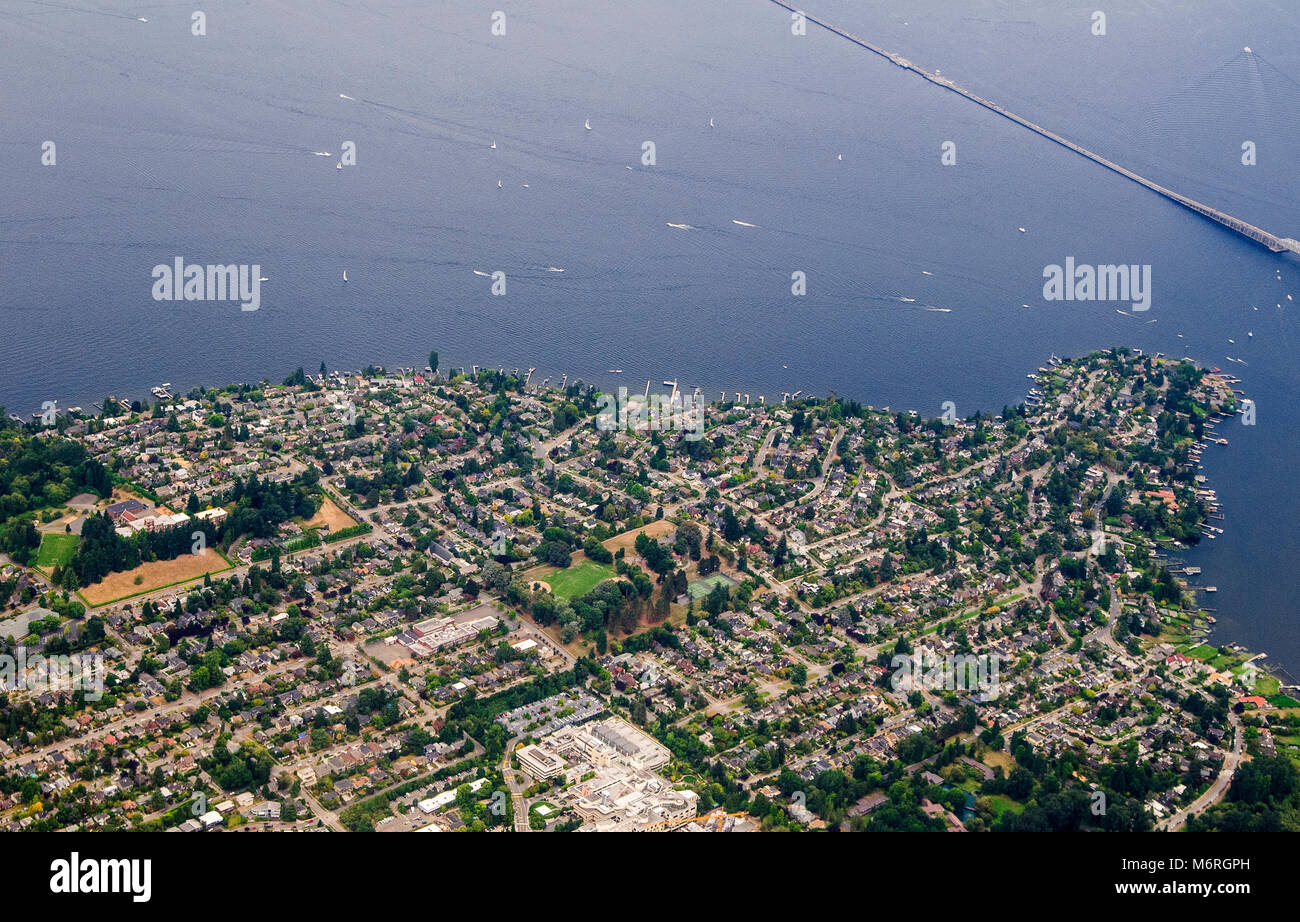 Seattle, Washington.  Aerial view of Laurelhurst. An upper class residential neighborhood in Seattle, Washington. - Stock Image