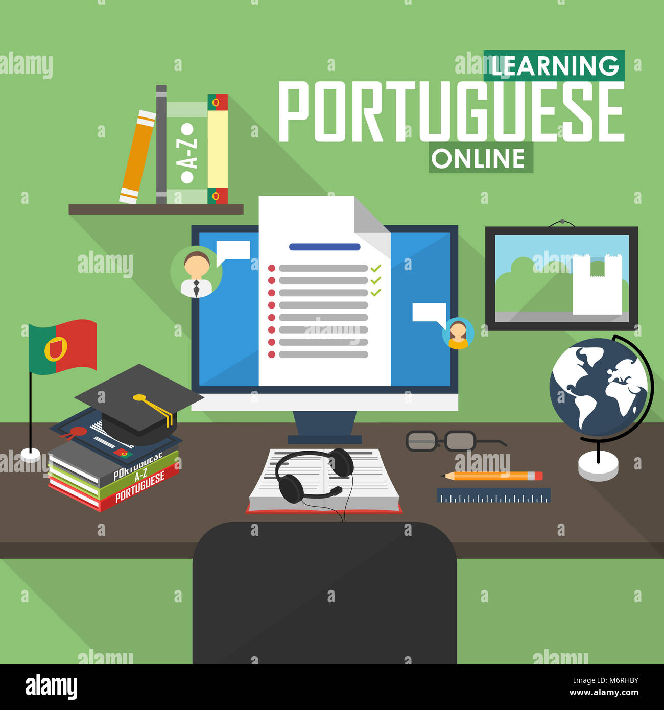Flat design illustration concept of learning Portuguese language online, distance education and online training Stock Photo