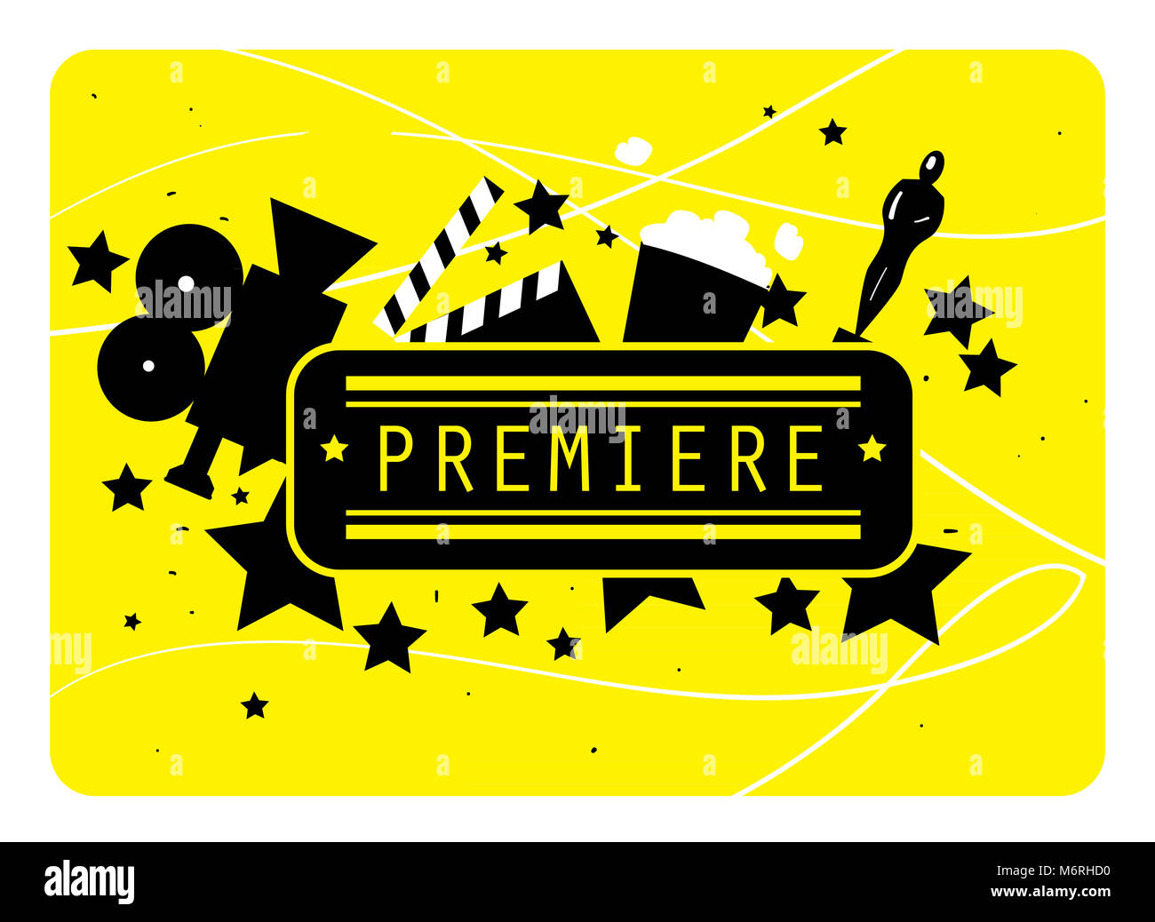 Abstract poster of movie for design. Colorful elements on the theme of movie. Colorful illustration of movie. Premiere - Stock Image