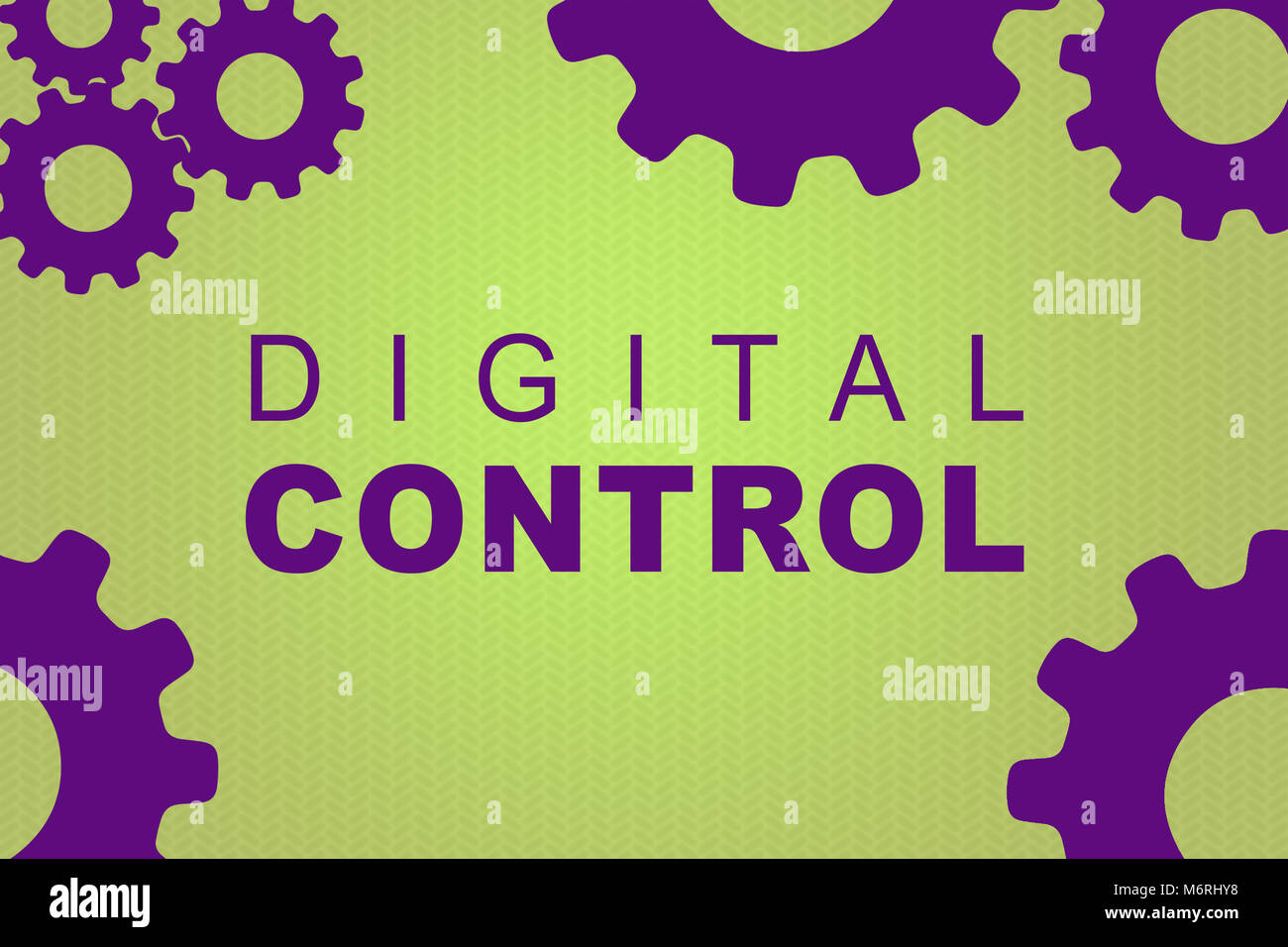DIGITAL CONTROL sign concept illustration with purple gear wheel figures on pale green background Stock Photo