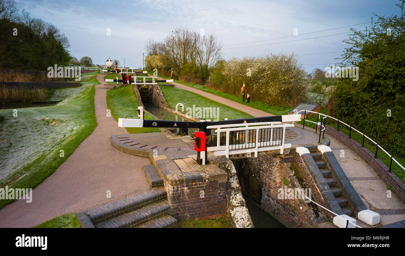 Foxton Locks are ten canal locks consisting of two 'staircases' each of five locks, located on the Leicester - Stock Image