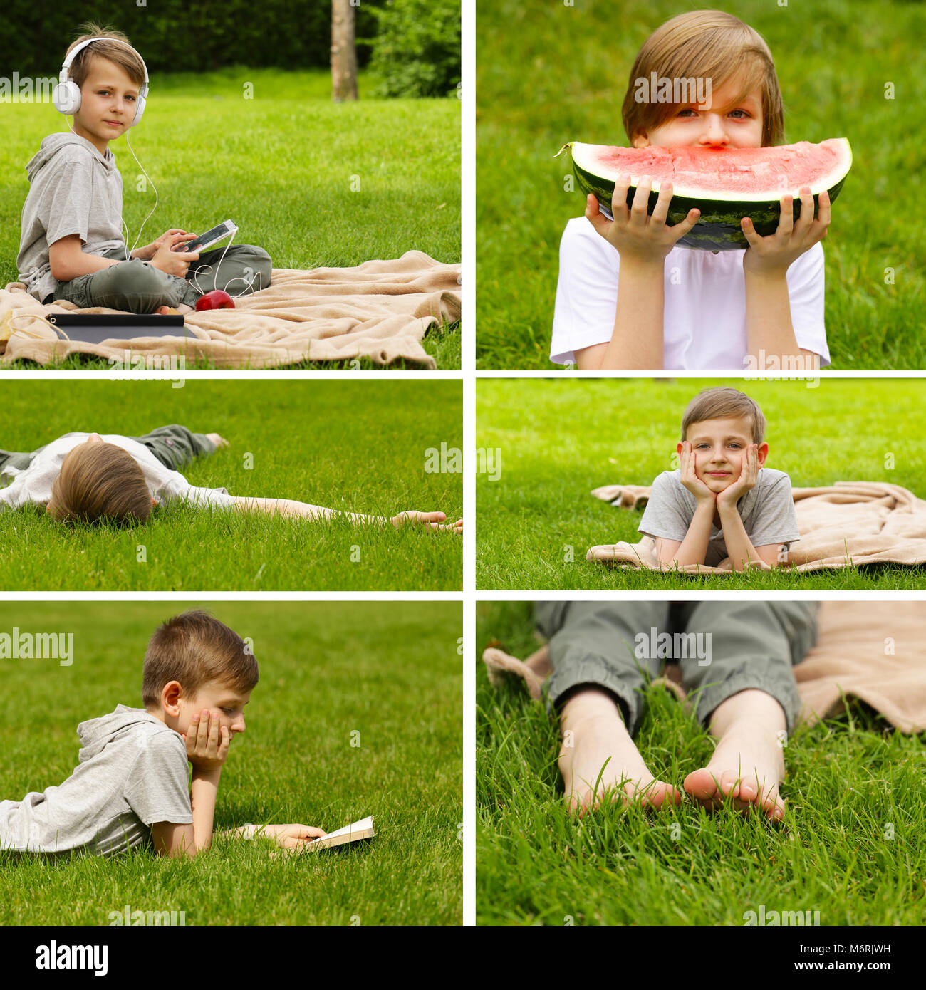 32d9beeb59 collage, set boy on summer picnic on green grass Stock Photo ...