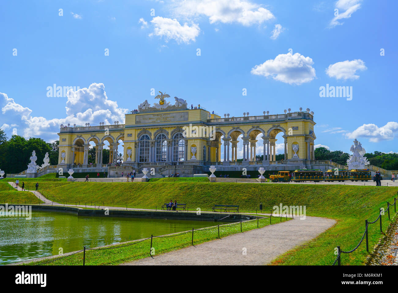 VIENNA,AUSTRIA - SEPTEMBER 4 2017; Structure known a the Gloriette in Schonbrunn Palace grounds comprising long - Stock Image