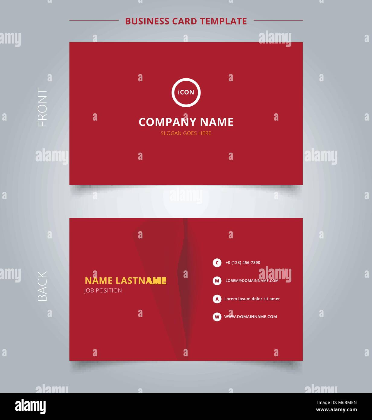 Creative business card and name card template red color background ...
