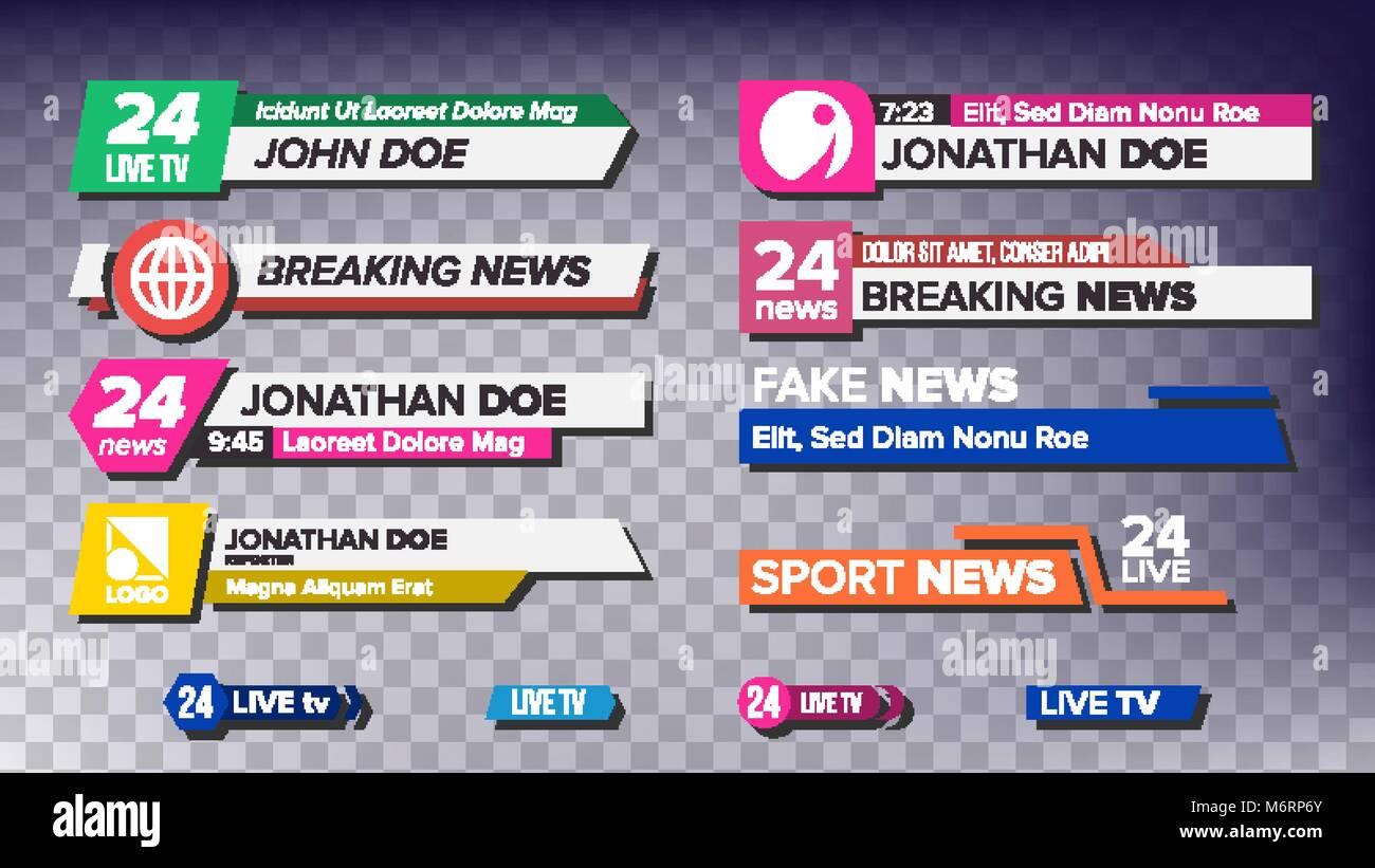 TV News Bars Set Vector. News Banner For TV Streaming. Full Hd, Live Stream. Isolated Illustration - Stock Image