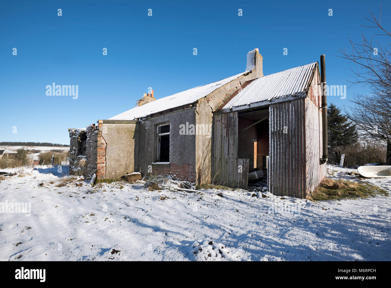 Derelict Cottage in snow covered field in Lanarkshire Scotland. - Stock Image