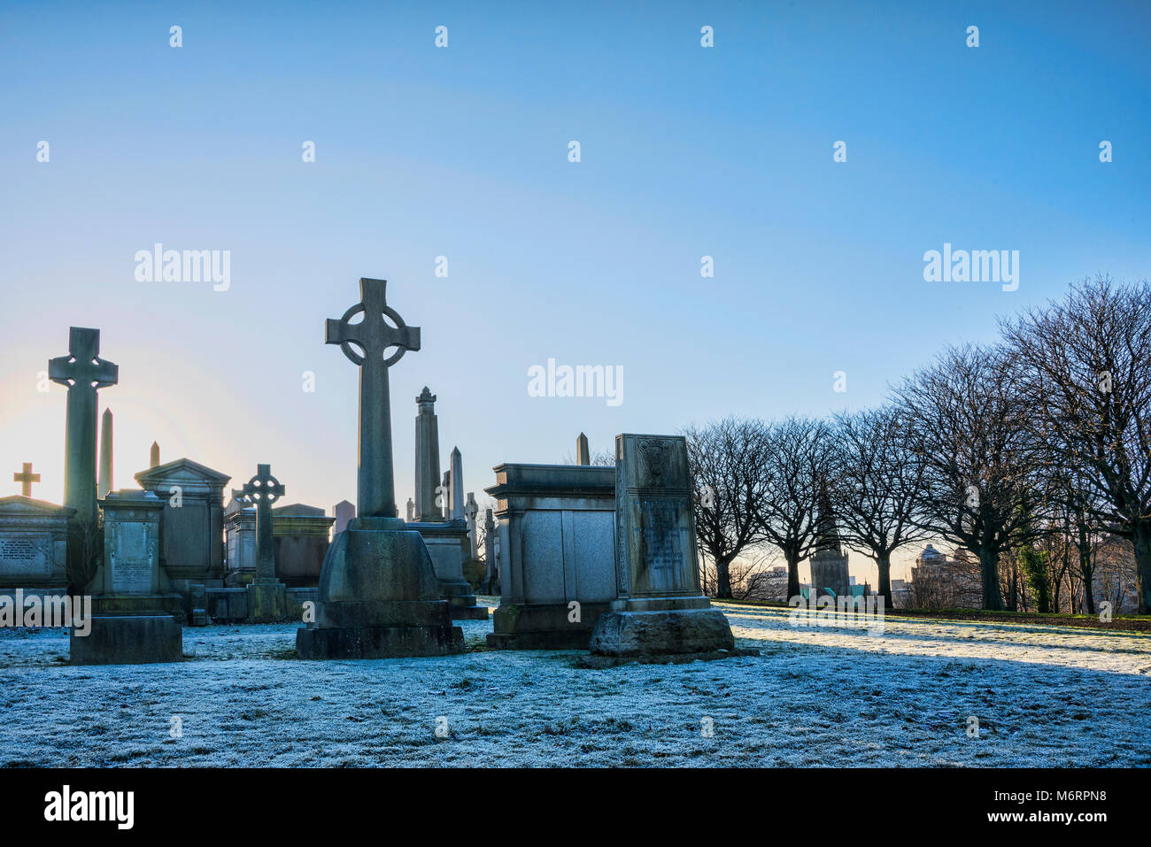 Winter afternoon at the Necropolis cemetary in central Glasgow. - Stock Image