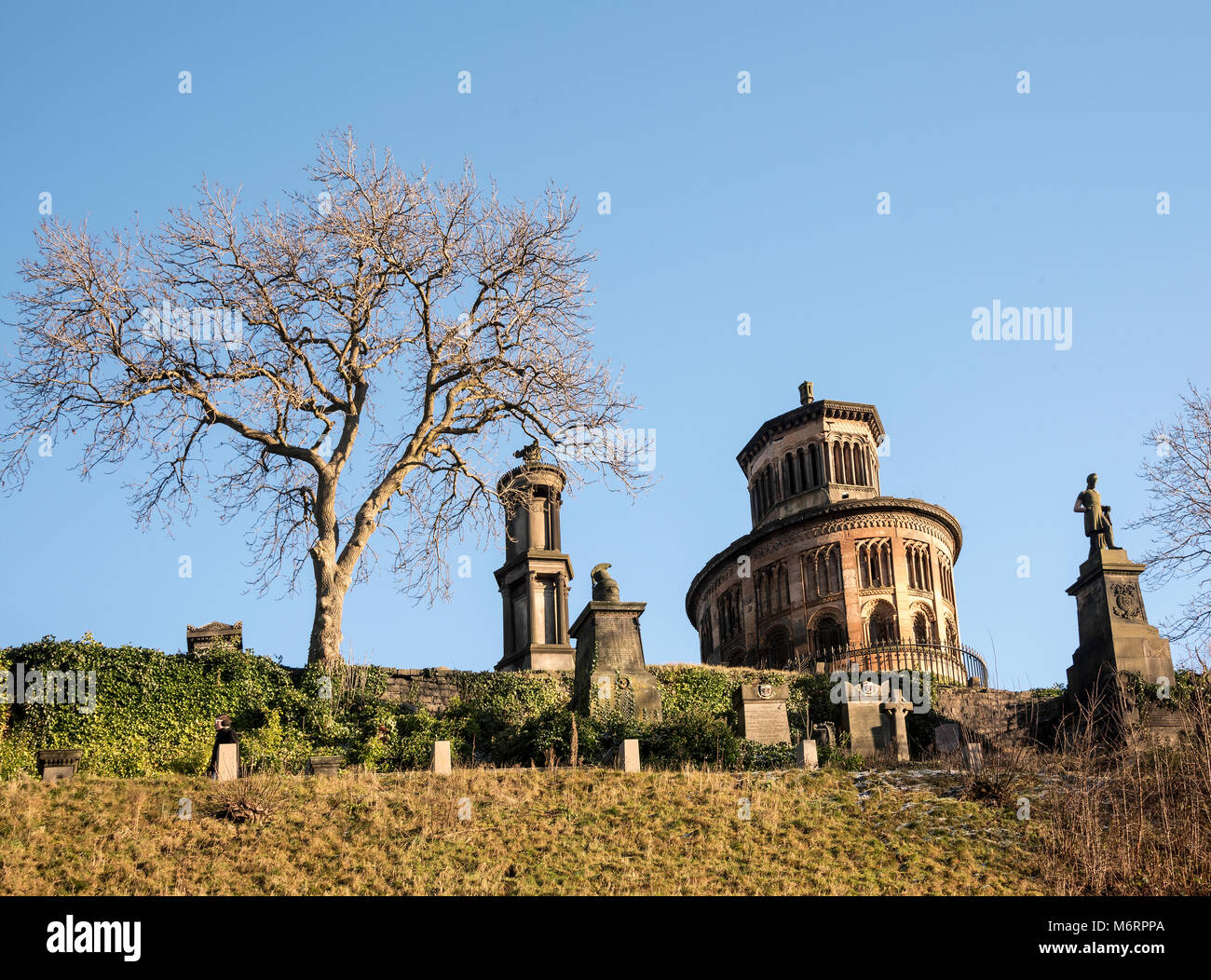 View of section of the Necropolis cemetry in central Glasgow. - Stock Image
