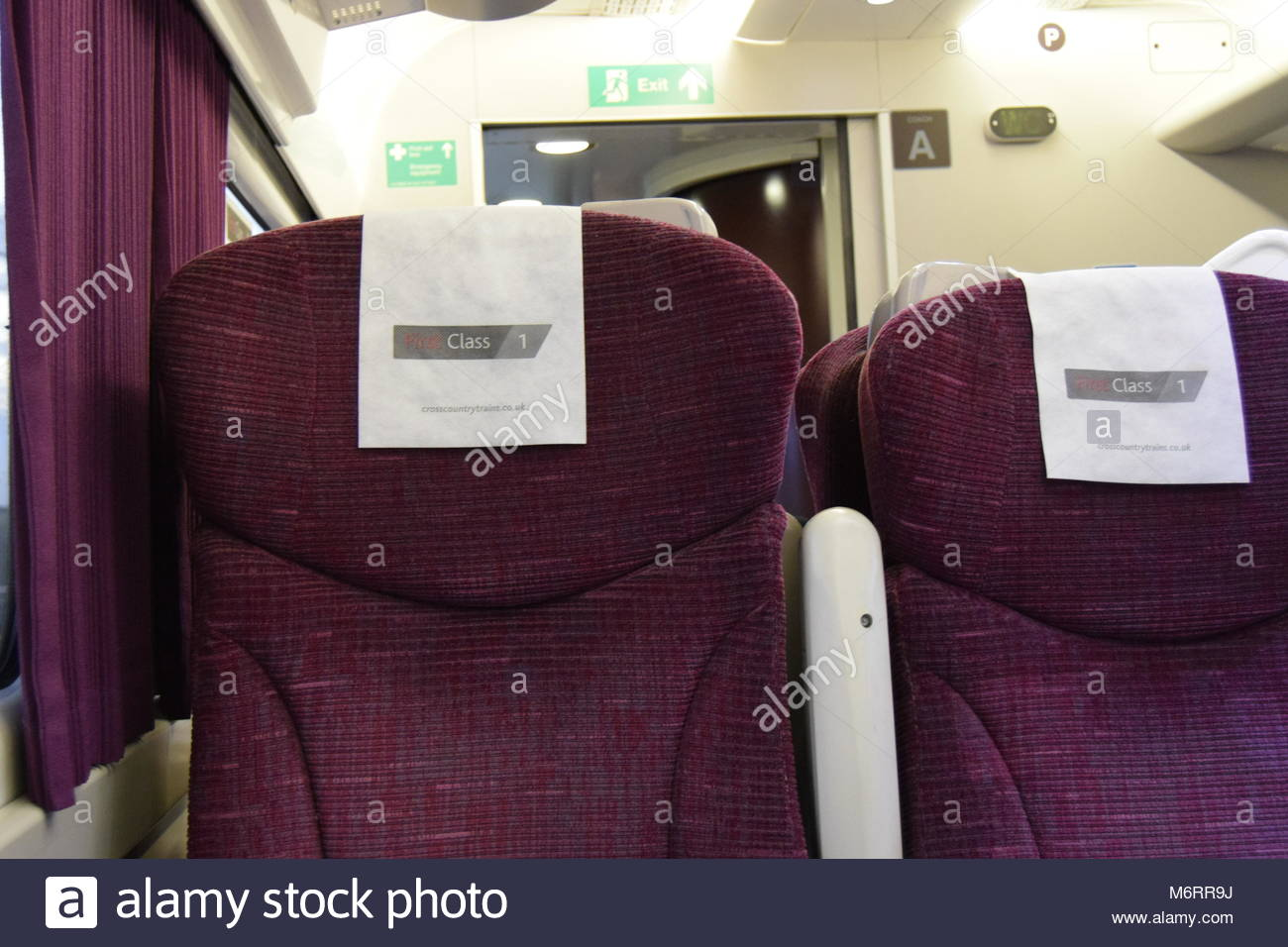 Train interiors of a cross country train - Stock Image