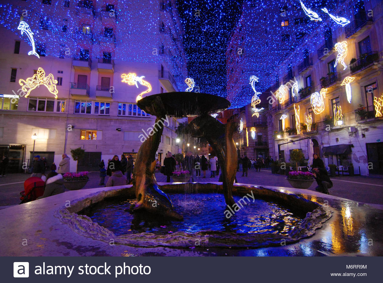 lighting artist in Salerno, Italy Stock Photo