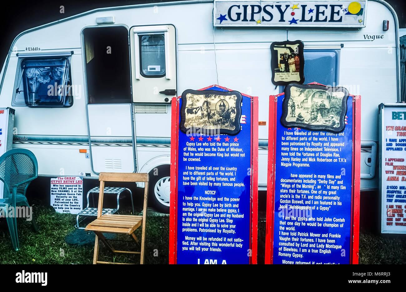 Gipsy Lee fortune teller caravan. - Stock Image