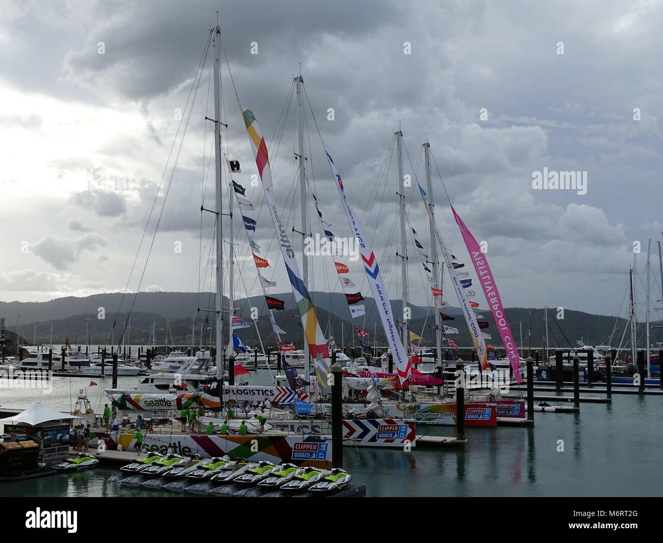 Cannonvale, Queensland, Australia-January 16, 2018:  Arrival of first four yachts into Airlie Beach on the Clipper - Stock Image