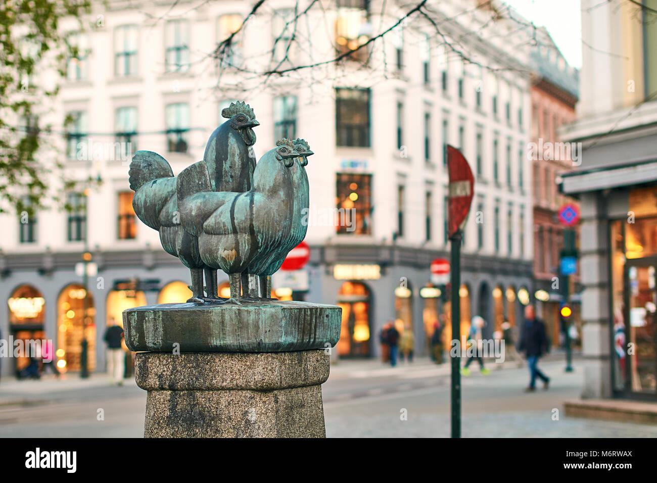 The Dyrefontene or Pet Fountain - sculpture of three checken or hens by Skule Waksvik. Landmark of Norwegian capital. Stock Photo