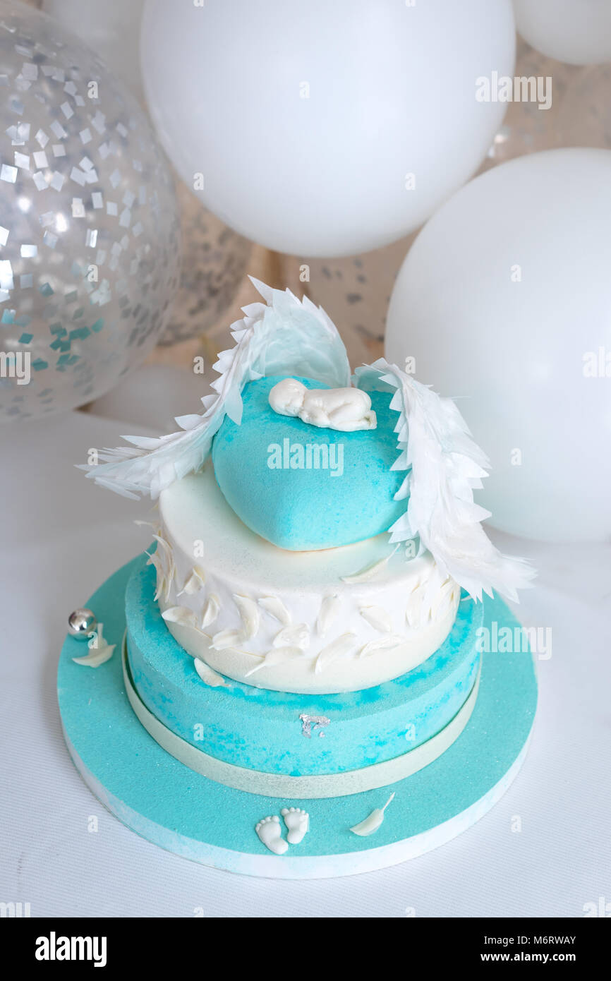 Blue Birthday Cake For Baby First Kid Decorations With And Balloons