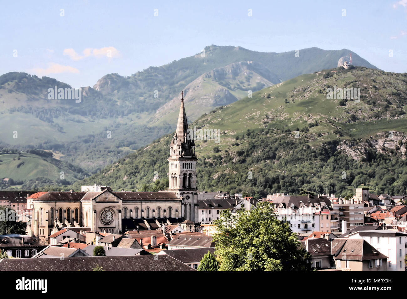 The Catholic Church in Lourdes - Stock Image