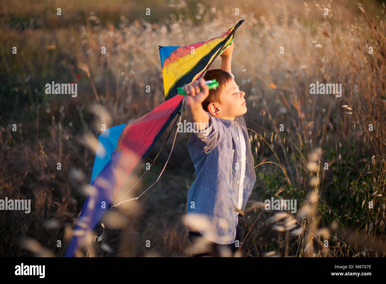 dreamy little boy with his eyes closed keeps colorful kite above his head in the field Stock Photo