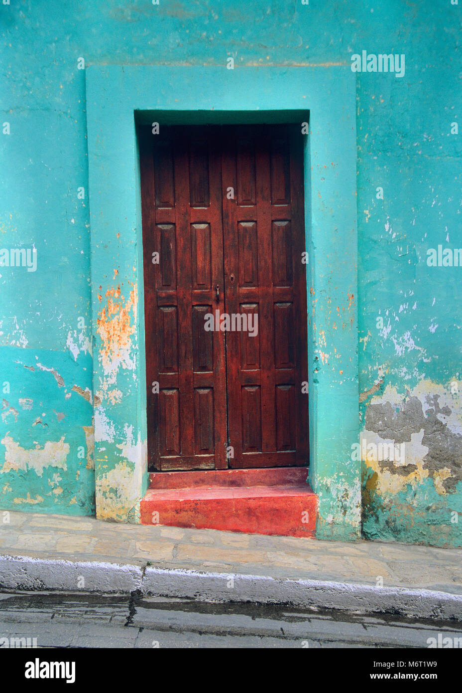 San Cristobol de las Casis is a city in Chiapas, Mexico with colorful doors. Stock Photo