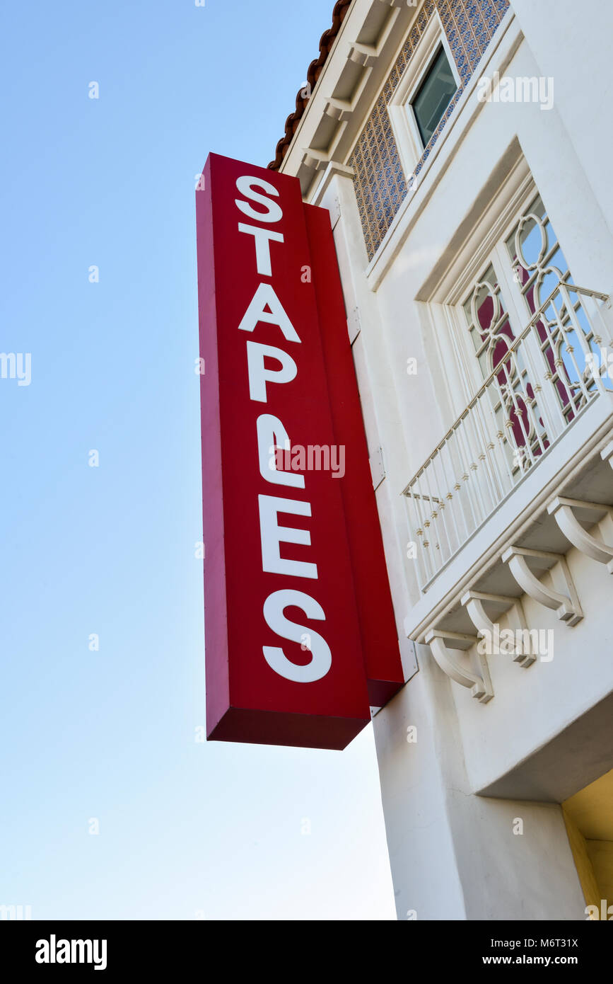 Storefront Sign for Staples Office Store in Las Vegas, Nevada - Stock Image