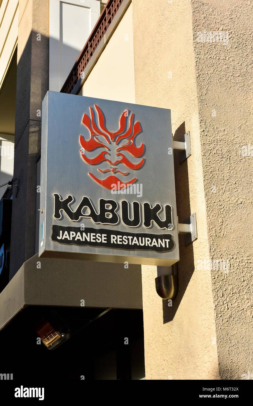 Kabuki Japanese Restaurant sign at the Town Center Mall in Las Vegas, Nevada. - Stock Image