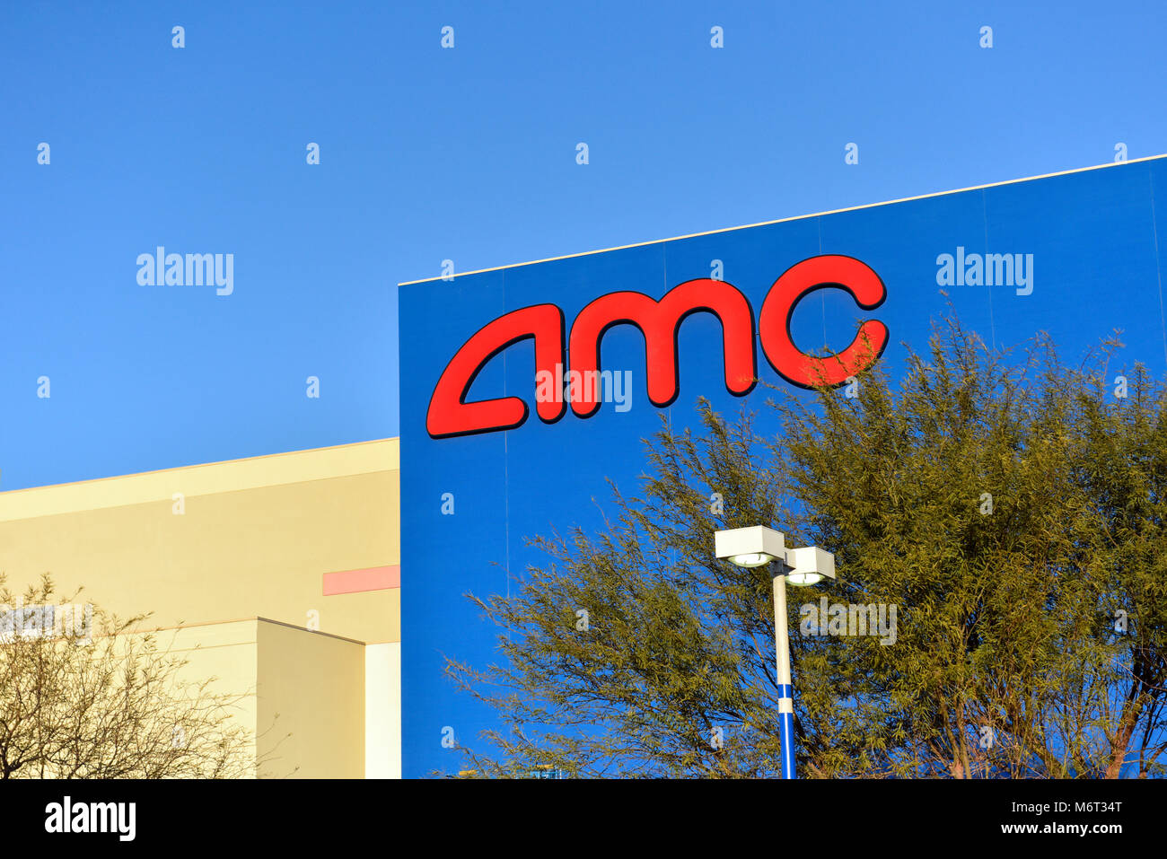 Exterior and sign of the AMC Town Center Movie Theater in Las Vegas, Nevada. - Stock Image