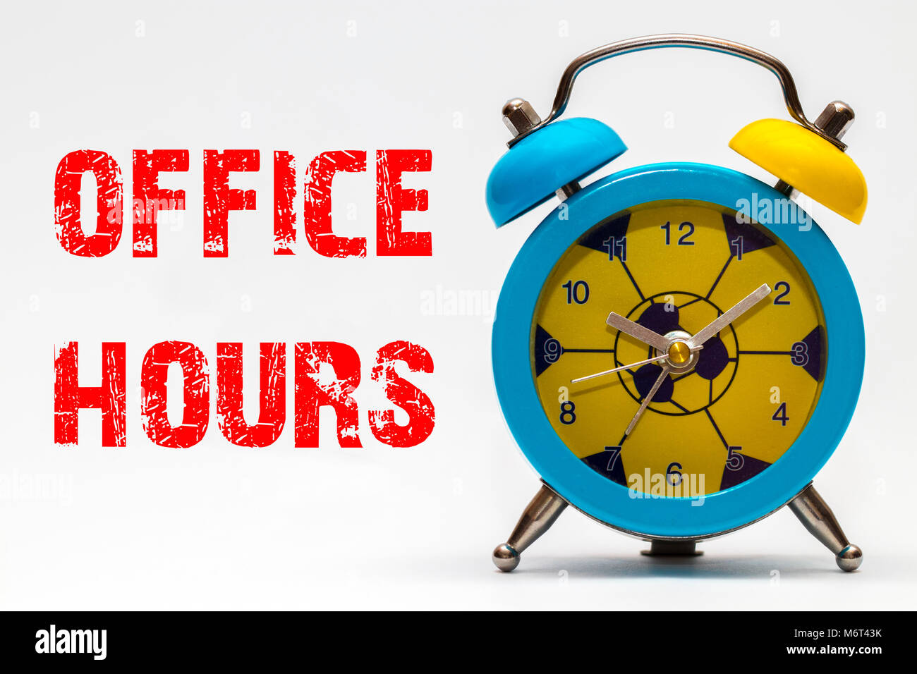 Office hours on a white background. Retro alarm clock. - Stock Image