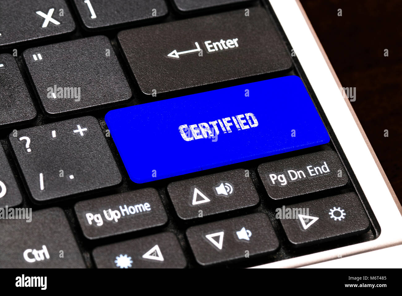 Business Concept - Blue Certified Button on Slim. Stock Photo
