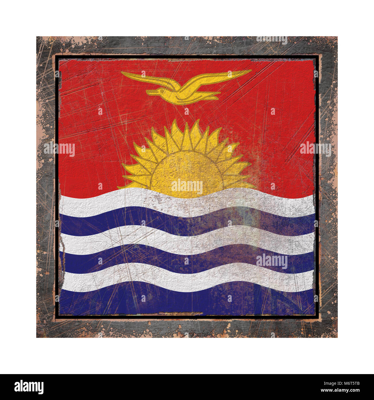 3d rendering of a Kiribati flag over a rusty metallic plate in an old frame. Isolated on white background. - Stock Image