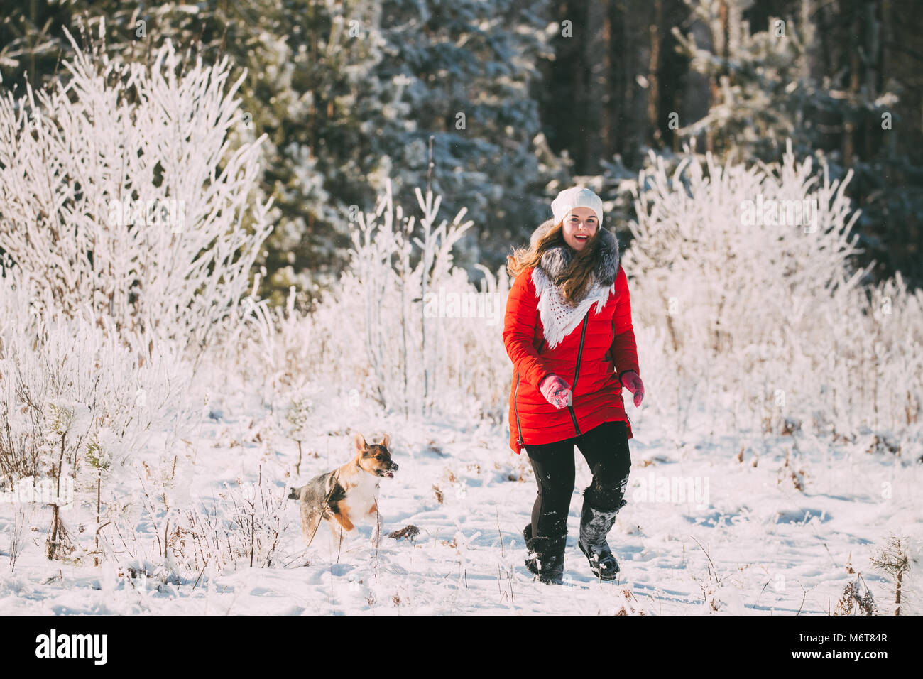 550bdf686ee Young Beautiful Pretty Caucasian Girl Woman Dressed In Red Jacket And White Hat  Playing Wiht Puppy