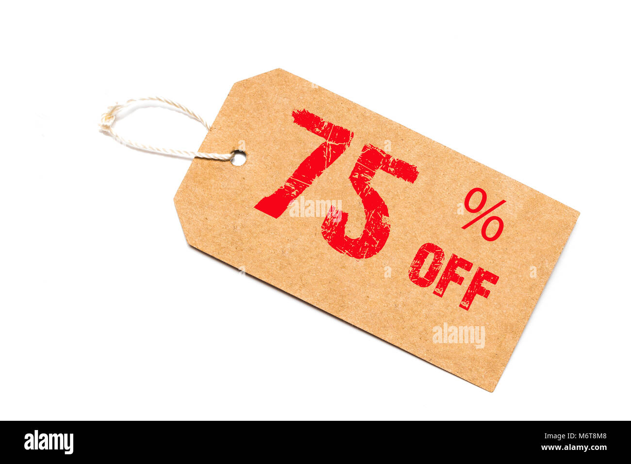 seventy-five percent off discount - a paper price tag on white background. - Stock Image