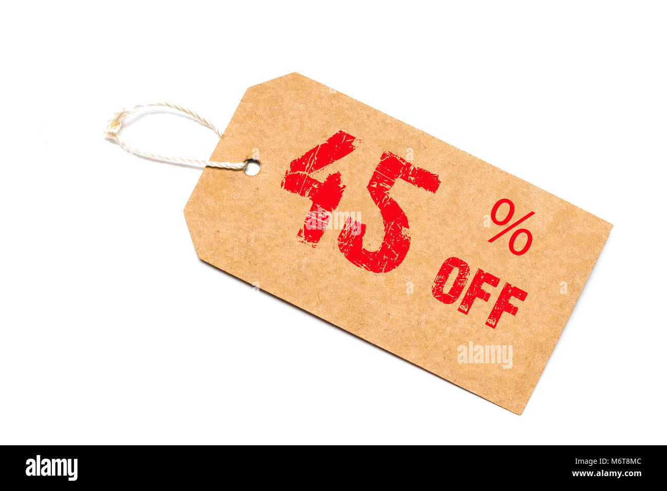 forty five percent off discount - a paper price tag on white background. - Stock Image