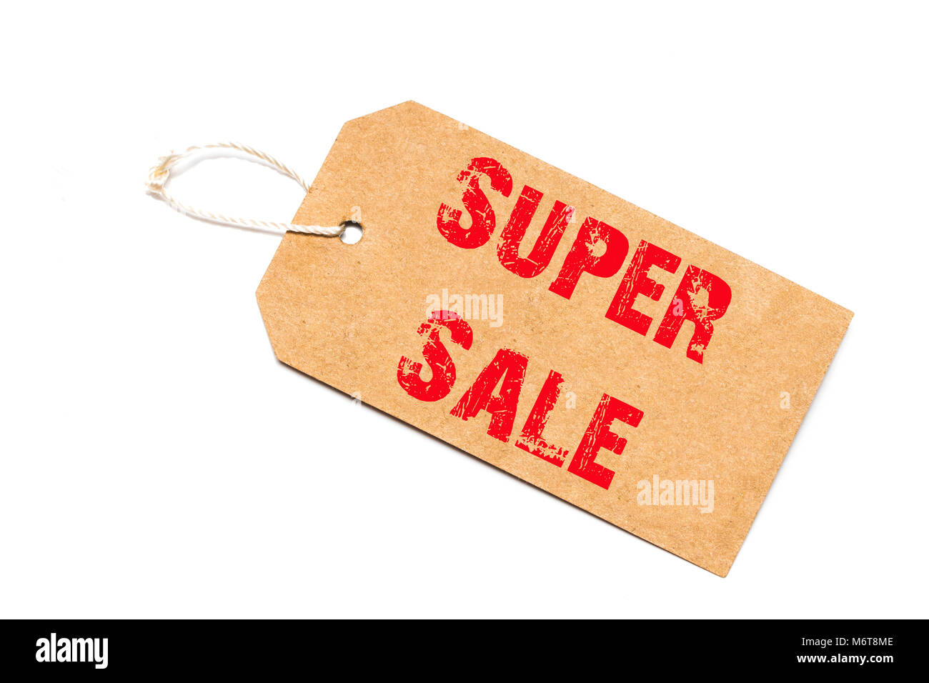 a brown paper label with the text  super sale written in it against a white   background. - Stock Image