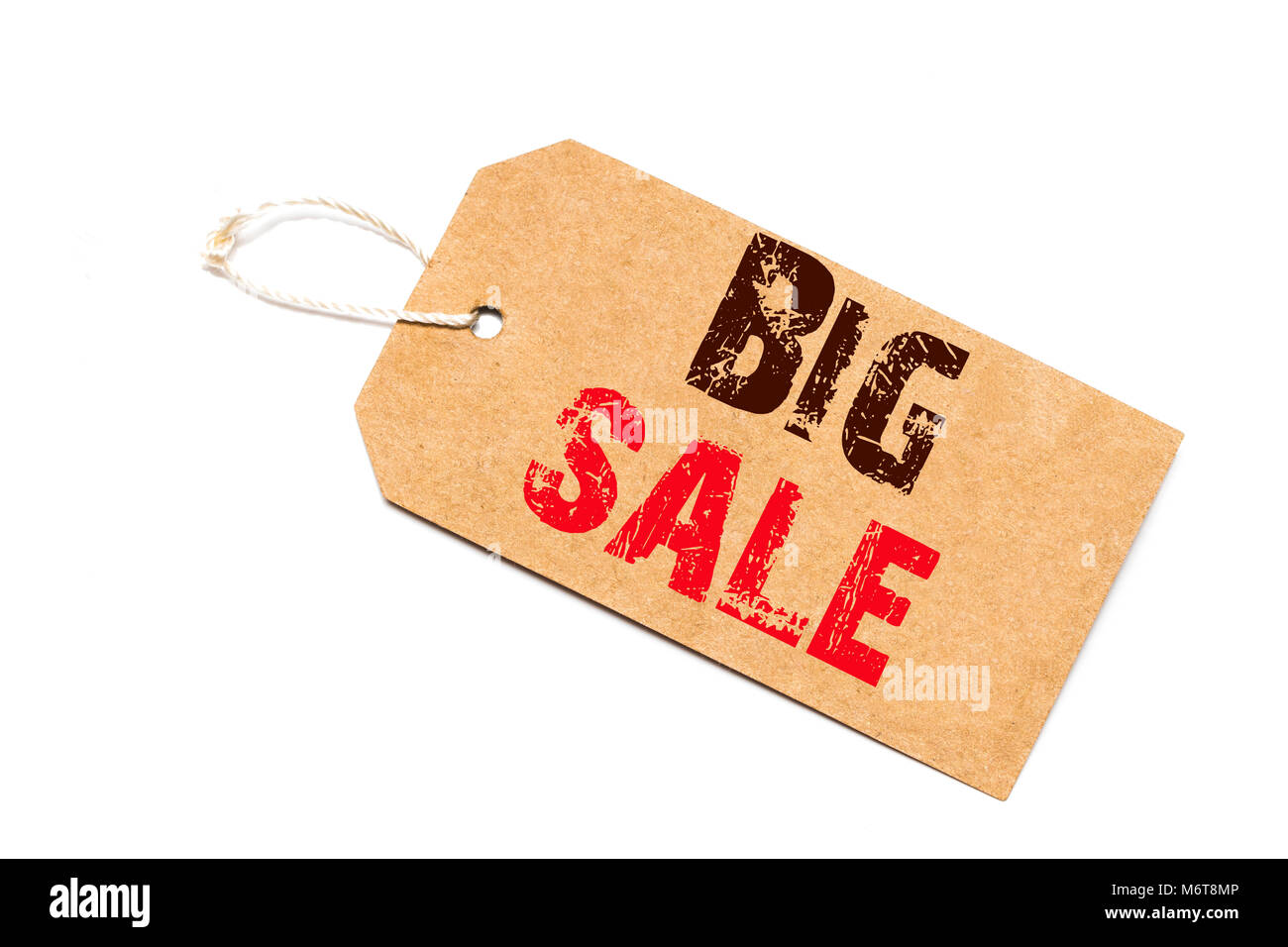 a brown paper label with the text  big sale written in it against a white   background. - Stock Image
