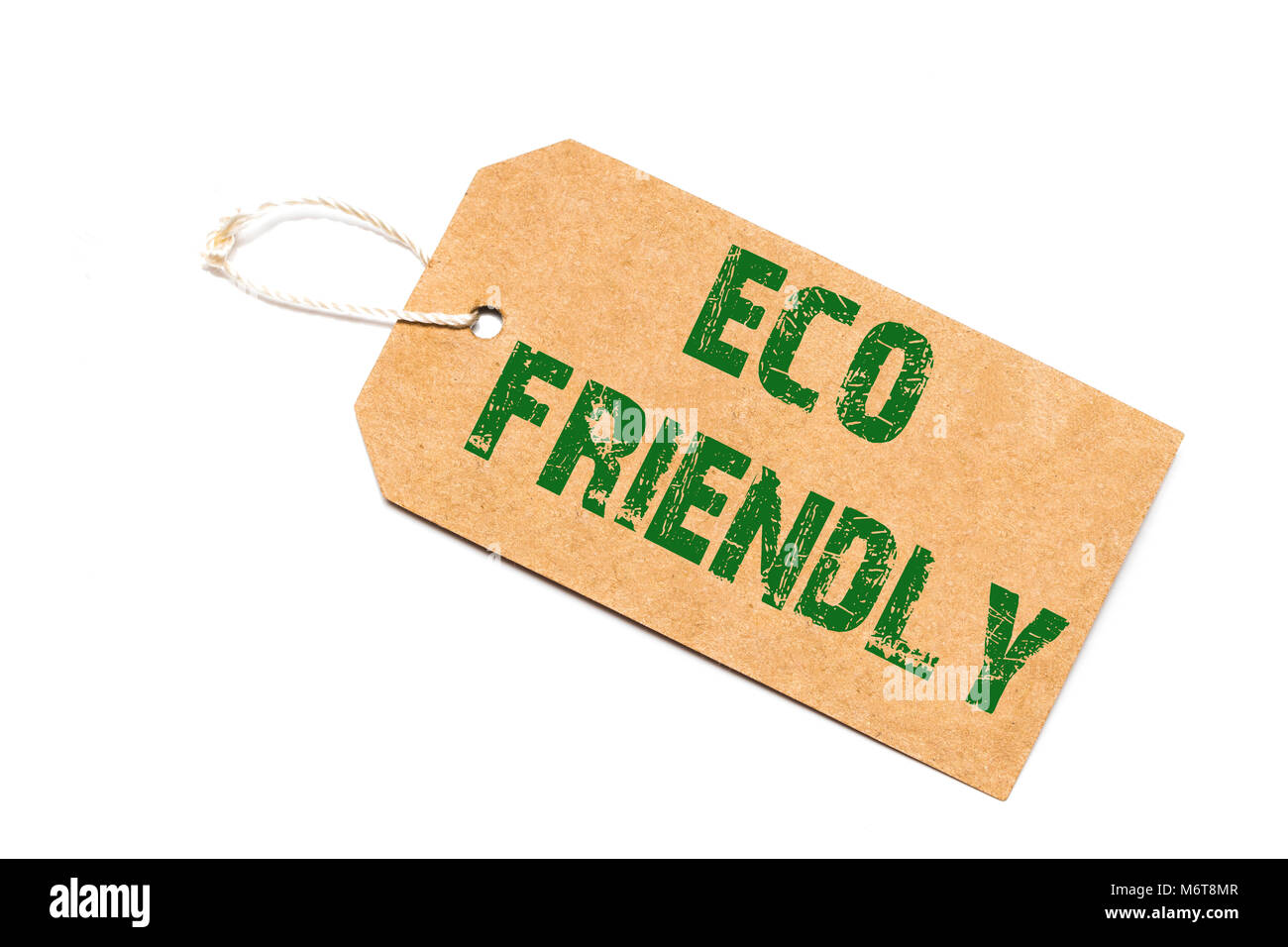 eco friendly sign a paper price tag on a white background - shopping concept. - Stock Image