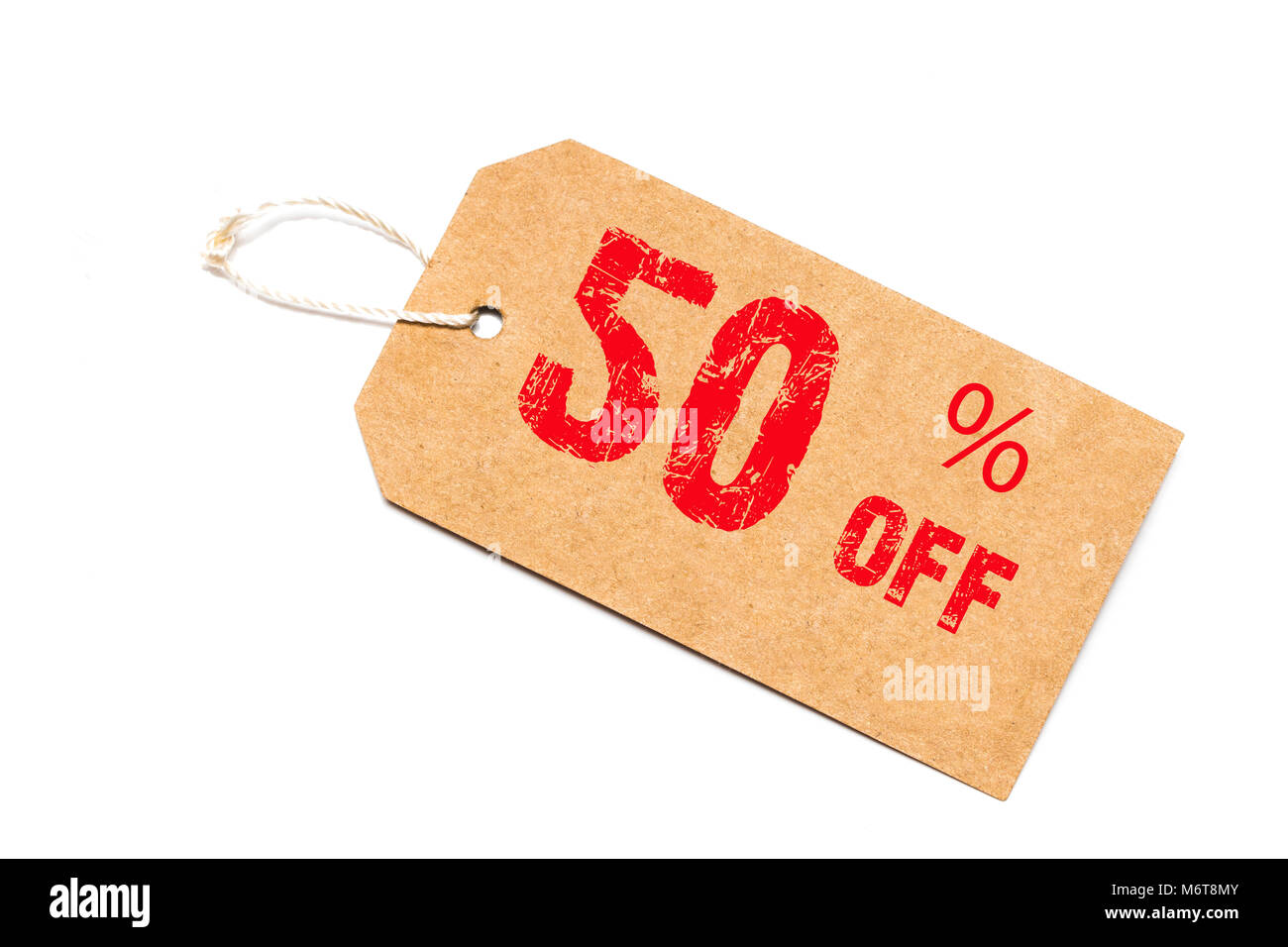 fifty percent off discount - a paper price tag on white background. - Stock Image