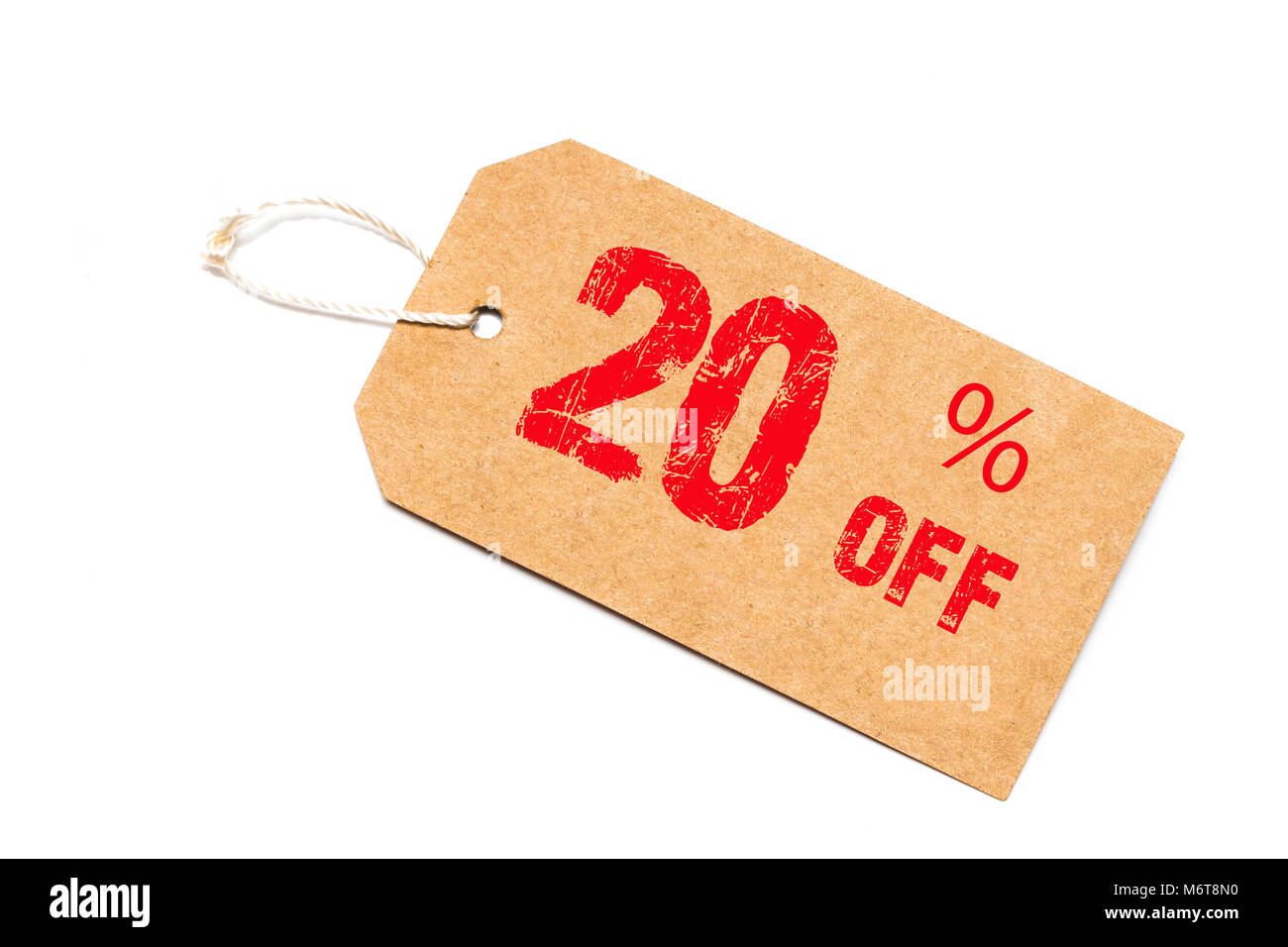 twenty percent discount paper price tag on white background. - Stock Image