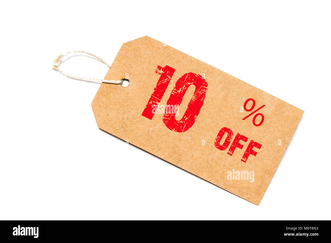 ten percent off discount - a paper price tag on white background. - Stock Image